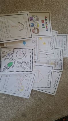 All About Me packet for kindergarten. This packet includes the items needed to make an All About Me lapbook (file folder needed), a 9 page All About Me book and several extra papers like an All About Me dice and Kindergarten Selfie sheet.