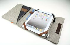 iPad Folio Case Kitsilano  Gray Wool Felt with Light by Adimaa, $69.00