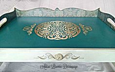 Green victorian breakfast tray - by Adisa Lisovac decoupage damask, antique