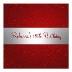 Red Spiral Hearts Silver 18th Birthday Party Announcements