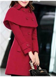 Slim Solid Color Women's Overcoat