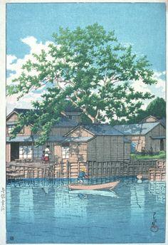 Kuri Ferry, Funabori Alternate Title: 舟堀栗渡 Kawase Hasui (Japan, Japan, May, 1932 Japanese Art Prints, Japanese Painting, Japanese Woodcut, Art Asiatique, Japon Illustration, Art Japonais, Japan Art, Woodblock Print, Chinese Art
