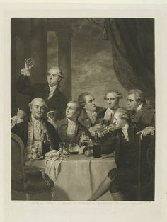Engraving after a painting by Sir Joshua Reynolds showing a gathering of the members of the 'Society of Dilettantes'. This was an exclusive club of British aristocrats dedicated to the discussion of classical art obtained on the Grand Tour. Charles Turner, First Fleet, Joshua Reynolds, Art Du Monde, English Heritage, National Portrait Gallery, Period Costumes, Classical Art, Victoria And Albert Museum