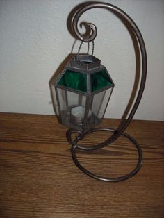 metal lantern candle holder  colored glass hanger display garden home accent