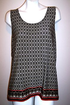 Chicos Top 3 Printed Casual Stretch Travel Knit Sleeveless Tank Shirt Bust 44-46 #Chicos #KnitTop #Casual