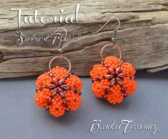 """""""Sunburst Flower"""" - bead pattern with superduo and seed beads, beaded earrings and pendant, beaded ornament. Beading pattern by BeadedTreasury."""