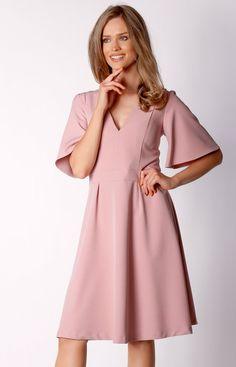 Nommo Rozkloszowana sukienka midi pudrowa NA034LP Cold Shoulder Dress, Dresses, Fashion, Gowns, Moda, Fashion Styles, Dress, Vestidos, Fashion Illustrations
