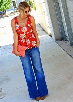 Floral peplum & wide leg denim. Spring & summer outfit ideas.