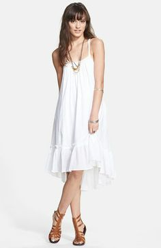 b9309310cdc2 Free People Ruffle Hem Trapeze Dress available at #Nordstrom White Sundress,  Nordstrom Dresses,