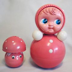 Vintage Roly Poly Ding Doll and Mushroom Set - Nevalyashka - 40cm and 19cm - Light Red - 1970s - from Russia / Soviet Union / USSR