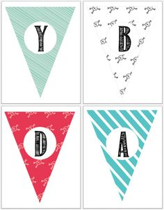 Jake and the Neverland Pirates Party: Free pirate party printables! Happy Birthday Banner Printable, Printable Banner, Happy Birthday Banners, Party Printables, Free Printables, Printable Alphabet, Birthday Bunting, Banner Letters, Name Banners