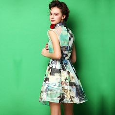 Fashion POLO Collar Organza Floral Print Dress [gyxh0046] on Luulla