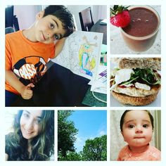 My day through pictures  #artistatwork#shakeologysuperfood#addstrawberries#busymom#crazyhair#chickenburgerlunch#homemade#babygirl#mybigboy#bluecrystalclearsky#hotday by brit_girl_gone_fit_