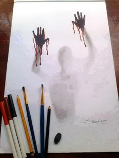 Shared by SuzyQ ♕. Find images and videos about beauty, art and drawing on We Heart It - the app to get lost in what you love. Creepy Drawings, Dark Art Drawings, Art Drawings Sketches Simple, Pencil Art Drawings, Cool Drawings, Pencil Drawing Tutorials, Halloween Drawings, Sketch Art, Art Tutorials