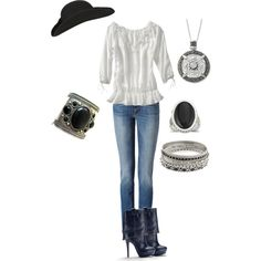 A fashion look from December 2011 featuring Old Navy blouses, malo jeans and Victoria's Secret ankle booties. Browse and shop related looks.