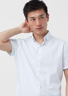 Camisa regular-fit algodão estampada | MANGO MAN