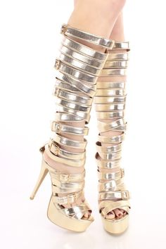 Gold Strappy Gladiator Heels Faux Leather