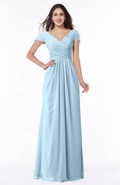 Ice Blue Glamorous A-line Short Sleeve Floor Length Ruching Plus Size Bridesmaid Dresses