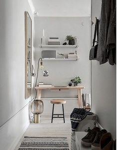 Grey and white Scandinavian style // mini desk in corner #homeoffice