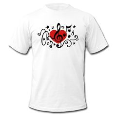 Music heart note I love classic choir star clef  T-Shirt | Spreadshirt | ID: 14559756