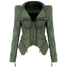 Rotita Green Turndown Collar Rivet Decorated Jacket featuring polyvore fashion clothing outerwear jackets coats green short jacket rivet jacket green zip jacket embellished jacket zippered denim jacket