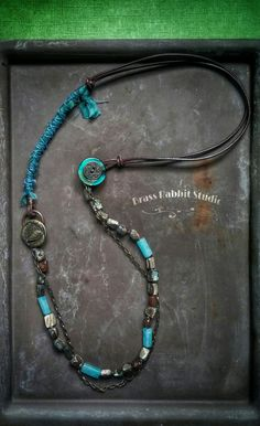 RESERVED for CANDI DETRAY, Ocean View necklace, with satin ribbon, abalone nuggets and leather