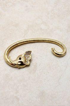 Golden Elephant Ear Cuff on Emma Stine Limited