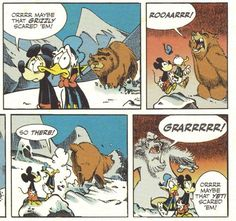 Mickey Mouse and Donald Duck yell at bears and Yetis to scare them away. By Keramidas, written by Lewis Trondheim