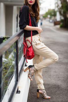 2fff11f0a00 black silk blouse with karen kane khaki drawstring pants M Loves M  marmar  Black Silk