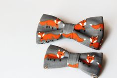 Foxes linen bow tie set , father son bow tie,  matching linen bowtie by PopKidsnl on Etsy