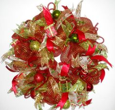 Lime Green and Red #DecoMesh Christmas Wreath by ArtificialWreaths, $95.00