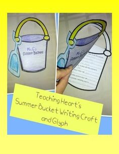 A free Summer Bucket Glyph and Writing Activity that would make a fun End of The Year craft! The Printables to make this are free. Just print all on card stock. Student color based on questions and fill in the writting activity.