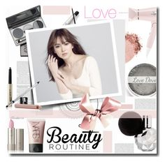 """""""Morning Beauty Routine with Song Hye Ko"""" by kts-desilva ❤ liked on Polyvore featuring beauty, T3, NARS Cosmetics, DuWop, J.ESTINA, Trish McEvoy, dots and beautyroutine"""