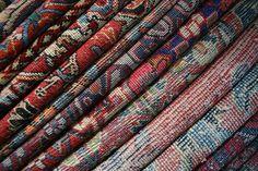Texture by Mahi Teshneh  10.08.2006 Carpets in an antique shop Carpet Bazar Hamadan, Iran