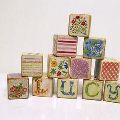 6 Pretty Vintage Blocks by nurserylove on Etsy, $22.00