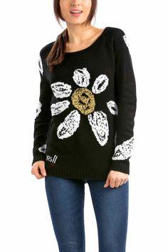 Desigual Sweater Nadine, Black with Daisy
