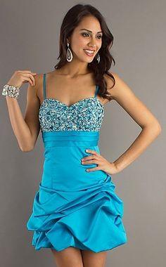 Gorgeous Rhinestone bodice Pick-up Skirt Spaghetti Straps Mini/ Short Homecoming /Cocktail /Short Prom Dress C1001042