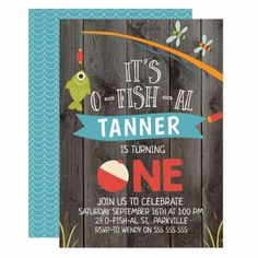 All the first birthday party invitations are so cute for girls. Here are some for the boys. Boys 1st Birthday Party Ideas, 1st Birthday Party Invitations, Boy First Birthday, First Birthday Parties, First Birthdays, Gone Fishing Sign, Fishing Rod, O Fish, Thing 1