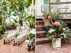 Love this tropical ceremony decor!