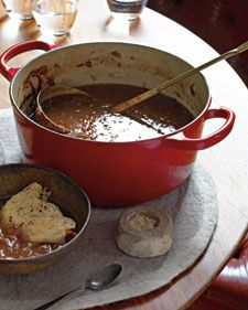 A stewing pot or slow cooker will perfume your home with the delicious aromas and warmth of this variation on a French Onion Soup.
