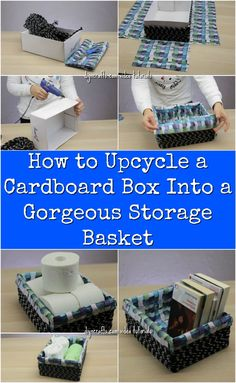 How to Upcycle a Cardboard Box Into a Gorgeous Storage Basket Have a plain old cardboard box you are looking to spruce up? In my newest exclusive video tutorial, I show you how you can transform any cardboard box into something truly amazing. Cardboard Box Storage, Diy Storage Boxes, Cardboard Box Crafts, Storage Baskets, Diy With Cardboard Boxes, Cardboard Castle, Decorative Storage Boxes, Storage Ideas, Diy Organizer