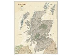 Buy Scotland Executive Wall Map from online map store. Decorate your wall by selecting a wide range of Nat Geo Wall Maps available in diverse formats and finish. Map Store, Country Maps, Wall Maps, Scotland, Vintage World Maps, Stuff To Buy