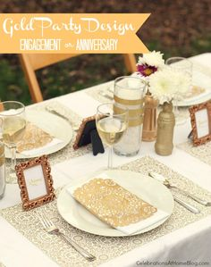 Gold Party Decor – Not sure I could go quite this all out with purchasing new items, but still a fun idea!