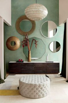 Marble Wall, Marble Top, White Marble, Round Wall Mirror, Wall Mirrors, Mirror Glass, Home Decor Store, Modern Interior Design, Top Interior Designers