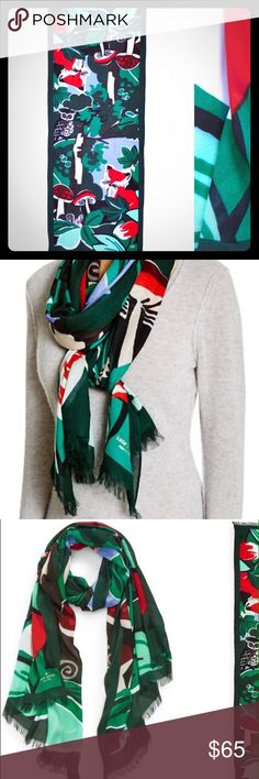 Kate Spade Fabled Forest Fox Scarf Wrap Authentic Kate Spade. A fabled forest scene pf woodland creatures in bold colors defined a twill fringe trimmed scarf. Brand new with tag. kate spade Accessories Scarves & Wraps