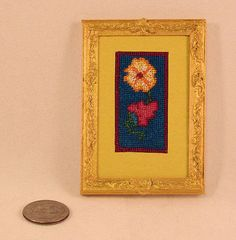OOAK needlepoint floral wall hanging by AuntElliesMiniatures