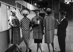 An outtake from the March 24, 1958 fashion feature: FAST BREAKING PLAIDS, CHECKS: Race track patterns are spring's bold way of wearing conservative colors. This photo was taken at Roosevelt Raceway in...