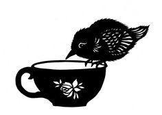 Tea Bird  5 X 7 inch Cut Paper Art Print by ruralpearl on Etsy, $14.00