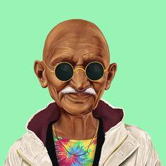 """Hipstory, cuenta Shimoni, trata de """"reimaginar"""" a los líderes de la historia moderna y situarlos en un momento y cultura """"diferentes"""". """"Muchas veces me he imaginado un mundo dónde algunos líderes están menos interesados en influir en otras vidas y se enfocan más en ellos mismos. Imagina a Gandhi obsesionado con sus looks"""", explica."""