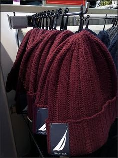 Branded headgear is presented en masse yet well controlled by these Tip Nautica Branded Beanie Bar Hooks. Use of a Tip allows the maximum number of Beanies on the Hook, even if compressed Bar Stock, Visual Merchandising, Hooks, Winter Hats, Beanie, Flat, Fashion, Moda, Bass